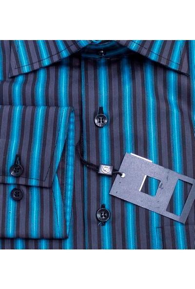 Bisente Saten Erkek Klasik Kesim Uzun Kollu Cepli Gömlek BS41055