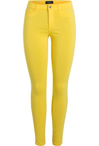 Pıeces Bayan Likralı Sarı Pantolon 17081381 Slım-Fıt Jeans