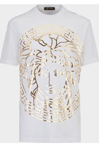 Guıce Parıs Versace Medusa Head Embossed Model Bayan T-Shirt