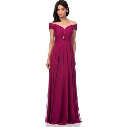 c03971b4130d4 İroni Kayık Yaka Tül Uzun Mürdüm Abiye Elbise Fiyatı