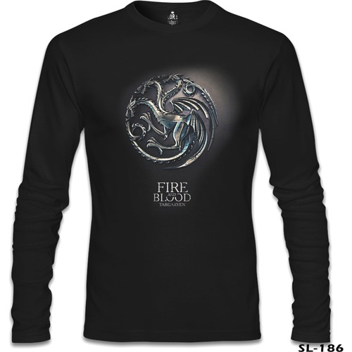 Lord T-Shirt Game Of Thrones - Targaryen Siyah Erkek T-Shirt