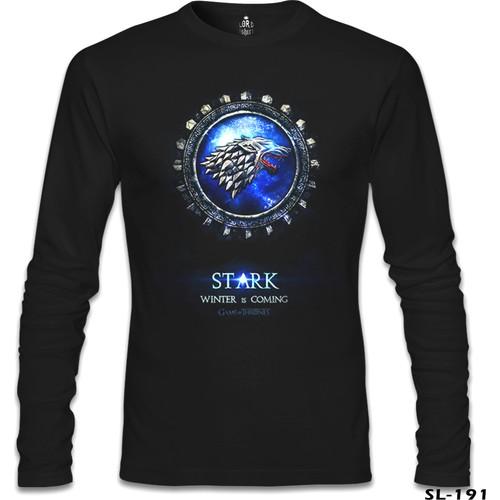 Lord T-Shirt Game Of Thrones - Stark Blues Siyah Erkek T-Shirt