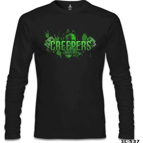 Lord T-Shirt Minecraft - Creepers Siyah Erkek T-Shirt
