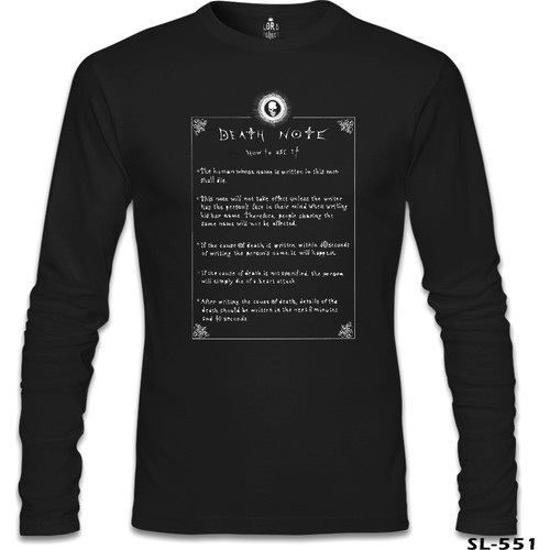 Lord T-Shirt Death Note - How To Use It Siyah Erkek T-Shirt