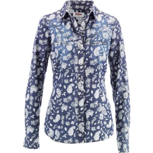 bonprix Uzun Kollu Jean Gömlek Mavi