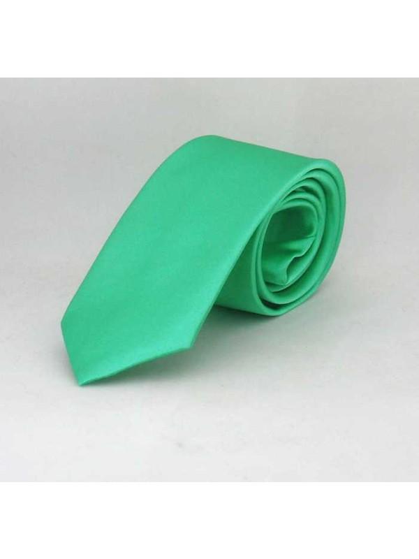 Gaffykoyu Su Yeşili Çocuk Boy Düz Renk Saten Kravat - Ck-30