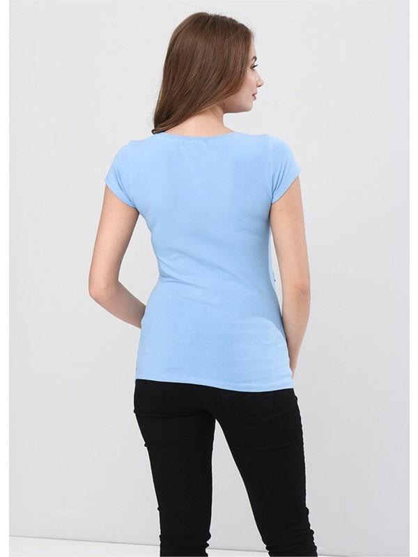 Gör&Sin Pencereden Bakan Bebek Baskılı Hamile T-Shirt Mavi