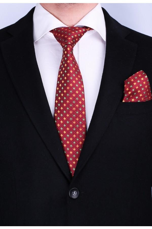 Pescara Bordeaux Le Motif Pattern Tie Classic handkerchief 2281