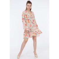 Pua Fashion Orange Çiçek Desenli V Yaka Elbise