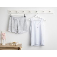 English Home Blooming Beauty Full Lyc Süprem- Pamuk Elastan Şort Pijama Takımı L-xl Beyaz - Gri