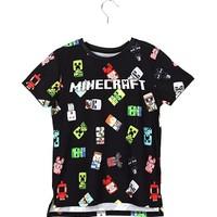 Minecraft 360 Derece Minecraft Baskılı Erkek Çocuk T Shirt 5 - 15 Yaş Aralığı Siyah