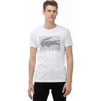Lacoste Erkek Bisiklet Yaka Timsah Baskılı Beyaz T-Shirt TH0013.13A