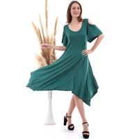 Cotton Mood 20060672 Viskon Omuzu Açık Kısa Kol Salash Çan Elbise Benetton