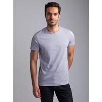 Dufy Açık Gri Bisiklet Yaka Düz Erkek T-Shirt - Slim Fıt