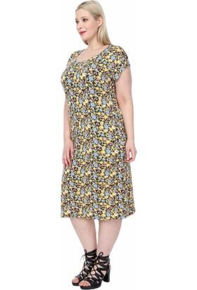 Elifnur Sarı Mavi Çiçekli Elbise