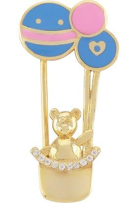 Valentine Diamond Yeni Doğan Bebek Iğnesi Mavi Balonlu Ayıcık