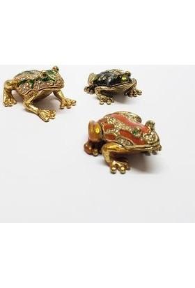 Mrc Swaroaki Taşlı Küçük 3lü Kurbağa Biblo Mücevher Kutusu+Süpriz Hediye
