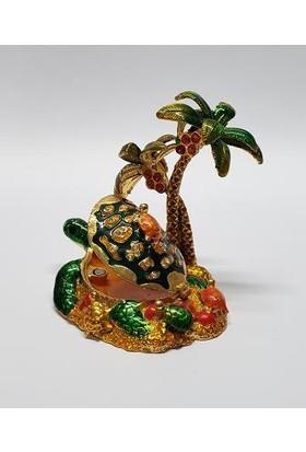 Mrc Swaroski Taşlı Palmiye Kaplumbağa Mücevher Kutusu+Süpriz Hediye