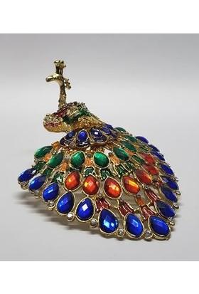 Mrc Dekoratif Taşlı Tasarım Tavus Kuşu Biblo Mücevher Kutu+Süpriz Hediye