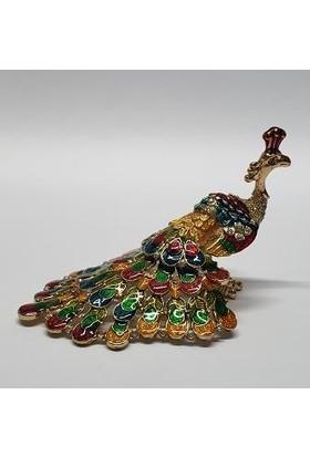 Mrc Swaroski Taşlı Dekoratif Tavus Kuşu Biblo+Süpriz Hediye