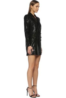 Network Kadın Mini Boy Siyah Abiye Elbise