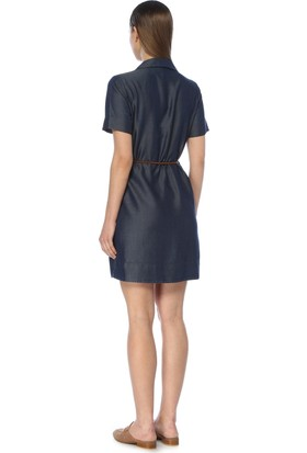 Network Kadın Diz Boy Lacivert Denim Elbise