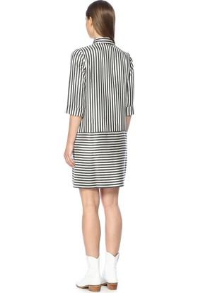 Network Kadın Çizgili Siyah Beyaz Çizgili Elbise