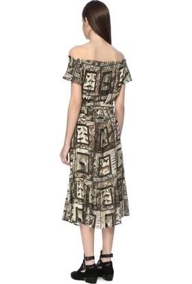 Network Kadın Straplez Haki Desen Elbise
