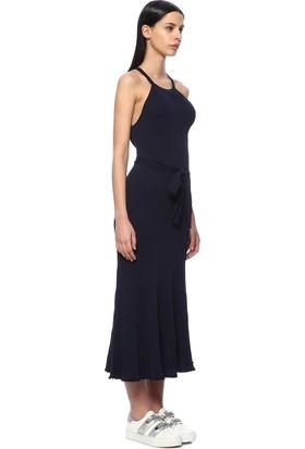 Network Kadın Kuşaklı Sırt Dekolteli Lacivert Elbise