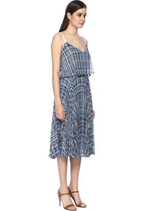 Network Kadın Askılı Mavi Desen Uzun Elbise