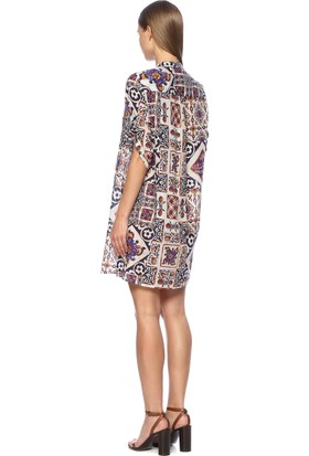 Network Kadın Mor Desen Mini Desenli Elbise