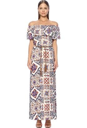 Network Kadın Straplez Mor Desen Uzun Elbise