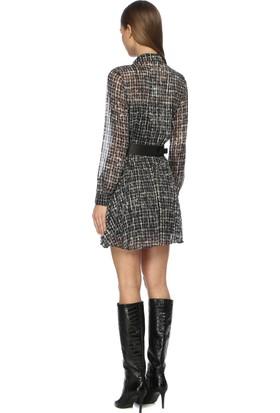 Network Kadın Mini Boy Siyah Ekru Pilise Elbise