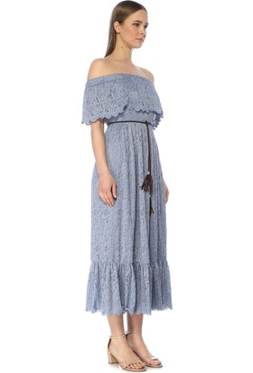 Network Kadın Midi Boy Mavi Elbise