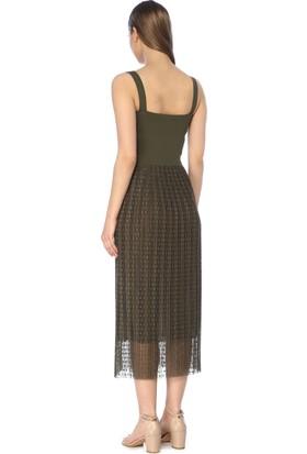 Network Kadın Uzun Boy Haki Elbise