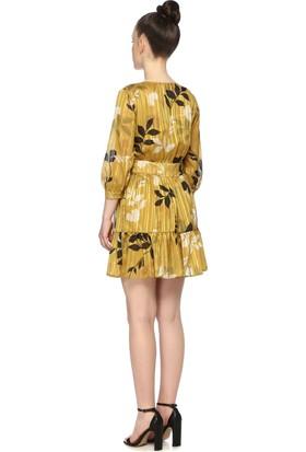 Network Kadın Mini Boy Safran Elbise