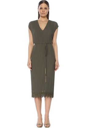 Network Kadın Haki Midi Elbise