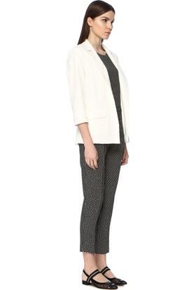 Network Kadın Regular Fit Siyah Beyaz Desen Pantolon