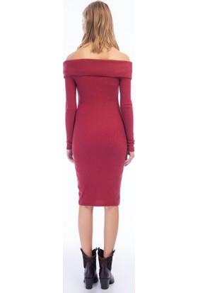 Cotton Mood 9424312 Kalın Lyc.kaşkorse Omuzu Düşük Uzun Kol Elbise Bordo