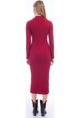 Cotton Mood 9424316 Kalın Lyc.kaşkorse Yarım Balıkçı Uz. Kol Uzun Elbise Bordo