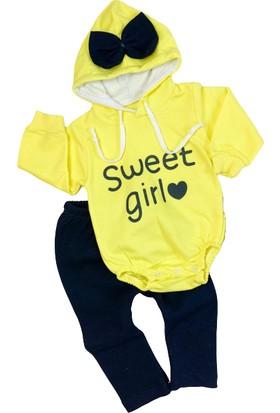 Güneş Bebe Kapşonlu Bodyli Sweet Girl Takım