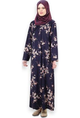 Nursafa Namaz Elbisesi Yandan Bağlamalı Menekşe Desen