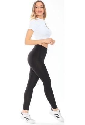 Mojerhermosa Siyah Yüksek Bel Penye Kadın Tayt