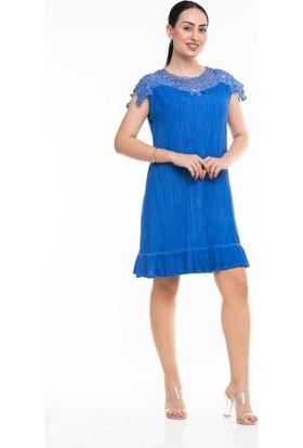 Maldia Dantel Detaylı Sıfır Kol İtalyan Elbise