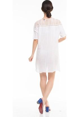 Maldia Dantelli Yaka Cepli Uzun İtalyan Elbise