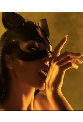 Redsaks Deri Siyah Fantazi Kedi Kız Maskesi