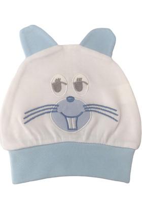 Akyüz Bebe Tavşanlı Erkek Bebek Şapka - Mavi