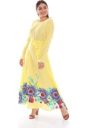 Repp Puantiyeli Elbise - Sarı