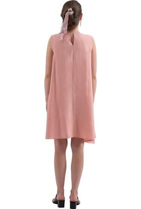 Prego Pembe Kolsuz Keten Elbise