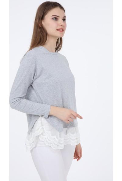 Pua Fashion Gri Eteği Dantelli Uzun Kollu Bluz